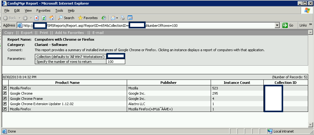 """SCCM SQL Reporting code """"Computers with one of many"""