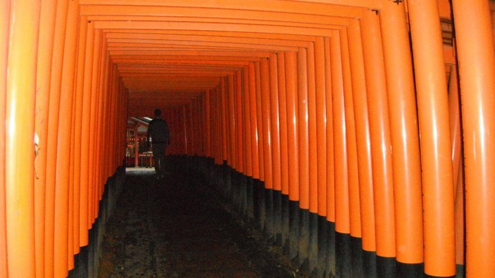 Paul strides into the dark at Fushimi-Inari Shrine
