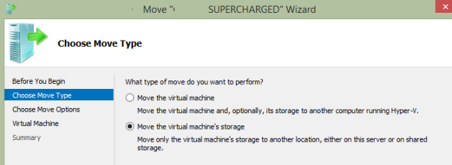 The top option is used to migrate to another Hyper-V host, use the bottom to move within the same host