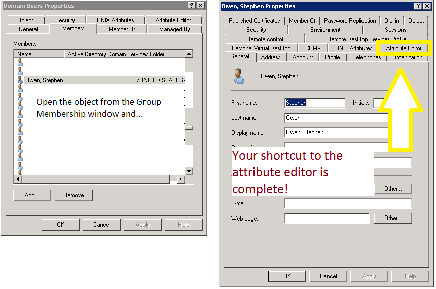 ADUC Tip – Easily edit Object Attributes directly from Search in