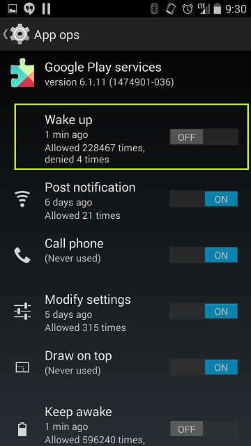 Resolve Google Play Services Keep Awake and wakelocks killing your battery (6/6)