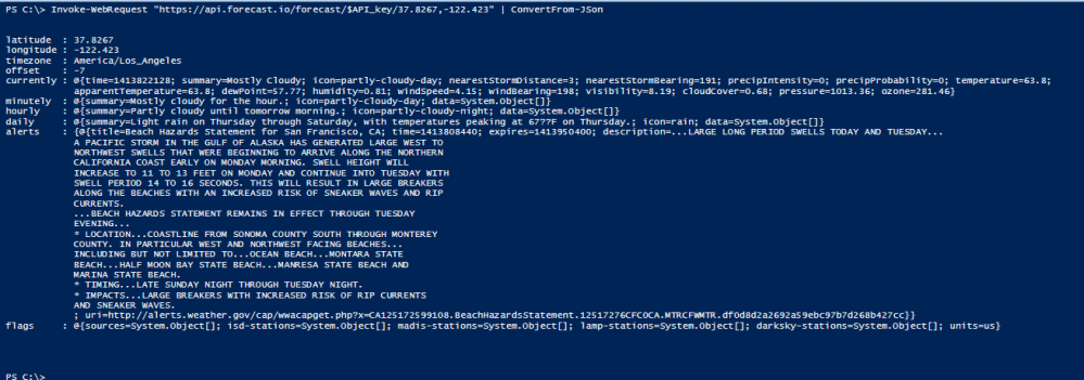 Get the daily forecast in your console, with PowerShell (3/4)