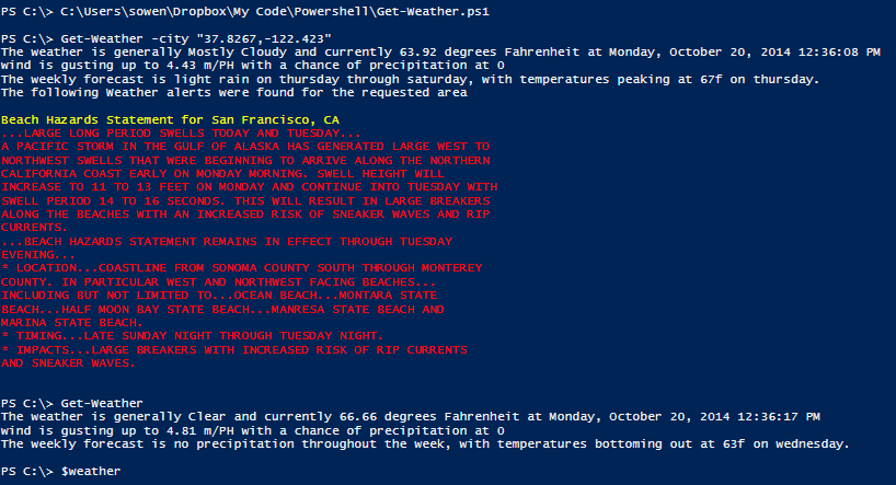 Get the daily forecast in your console, with PowerShell (4/4)