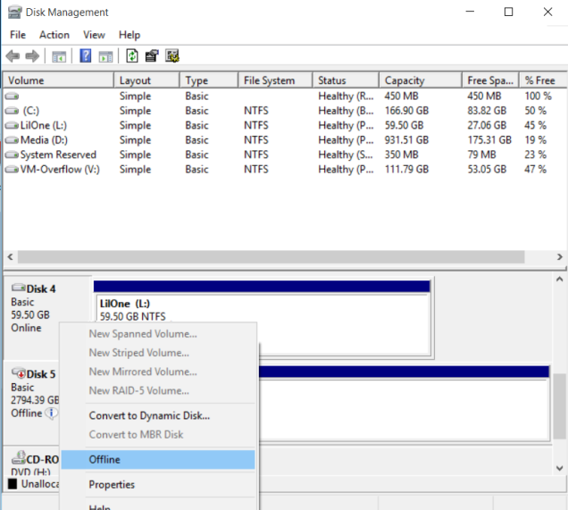 Once the disk is offline, we can attach it to a VM.  Do NOT accidentally format your drive here.