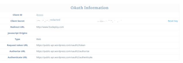 oAuth Info