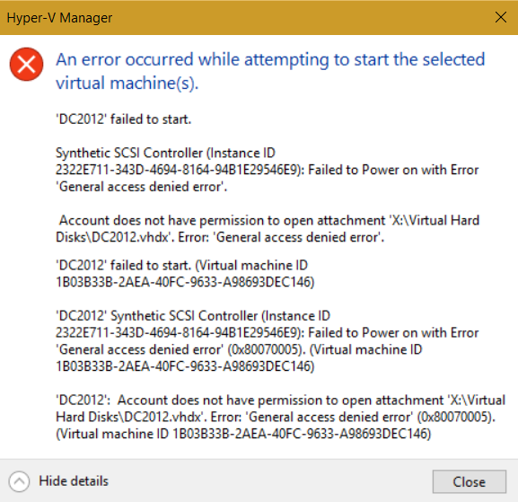 Fix Hyper-V 'Account does not have permission' error