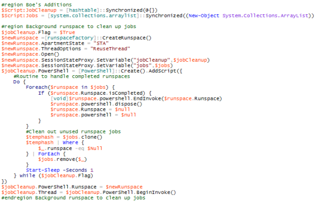This code structure sets up an additional runspace to do memory management for us.