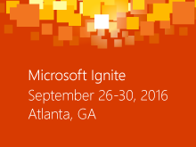 The Microsoft Ignite conference logo is displayed here
