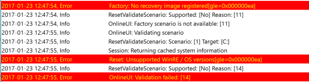 Factory: No recovery image registered[gle=0x000000ea] Reset: Unsupported WinRE / OS versions[gle=0x000000ea]