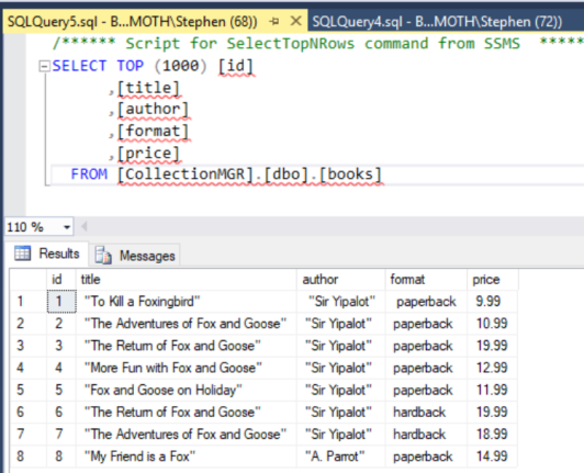 A screenshot from SQL Server Management Studio, showing a query listing all of the books from a table in a Database. The books have titles like 'To kill a Foxingbird' and other riffs on popular titles with Foxes in the name. Fox Emoji