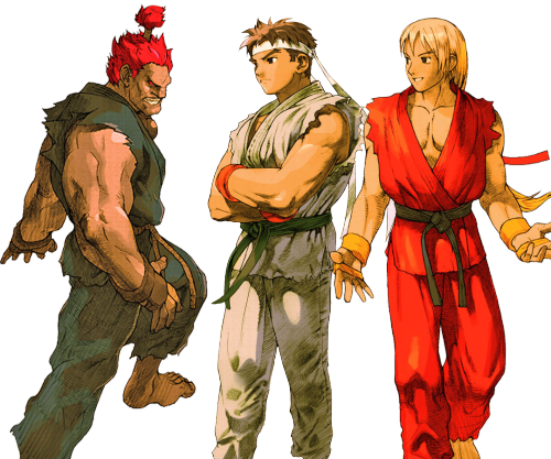 Depicts Ken, Ryu and Akuma, generally refered to as 'Palette Swap' or identical characters with different colors.  The joke is that I describe them as a 'Balanced team', when its effectively using three of the same characters in a team.