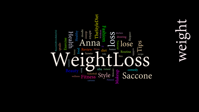 A word cloud of the most commong tags for Weight loss videos traversed with this tool, including 'theStyleDiet', 'Commedy' Beauty', and 'Anna Saccone', who seems to be a YouTuber popular in this area