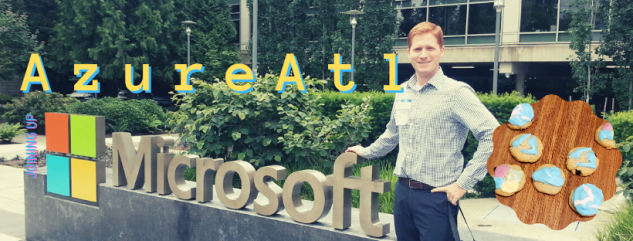 Picture of the author in front of the Microsoft Logo sign in Redmond Washington on the microsoft campus