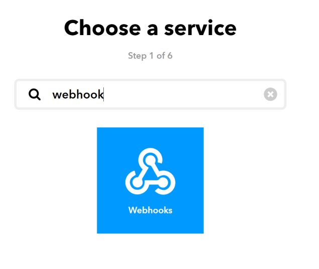 Shows a textbox with the word 'webhook' entered and below it a large picture which also says webhook.