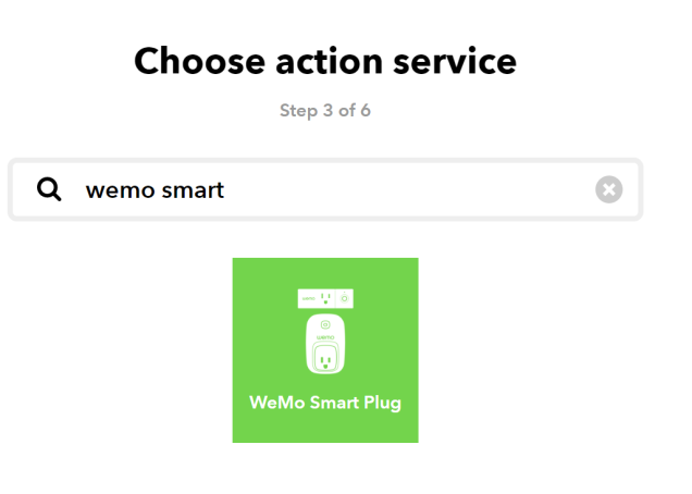 the IFTTT ui, now with the heading 'Choose action service', and in the text box to search, Wemo Smart was entered. The only option is the Wemo smart plug as the action to trigger.
