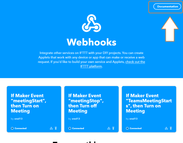 Depicts the maker\webhooks page and shows a box drawn around the large 'Documentation' button on the corner.